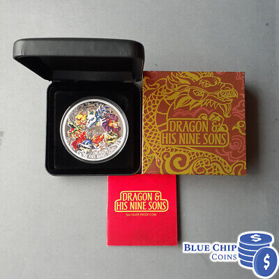 AU499.95 • Buy 2015 $5 Dragon And His Nine Sons 5oz Silver Proof Coloured Coin PREOWNED
