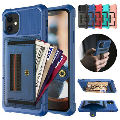 AU9.05 • Buy Leather Card Slots Wallet Case Stand Cover Fr IPhone 12 Pro Max 11 XR 6 7 8 Plus