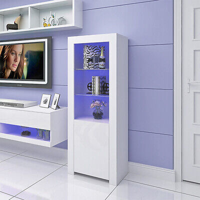 160cm White High Gloss Tall Display Cabinet Storage Unit Cupboard With LED Light • 89£