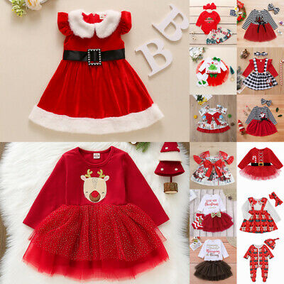 UK Baby Girls Christmas Santa Xmas Party Dress Kids Fancy Costume Clothes Outfit • 9.29£