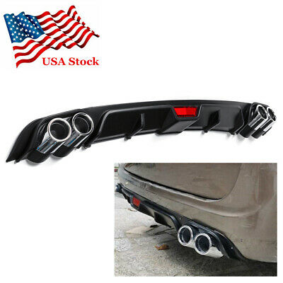 $58.80 • Buy Universal Car Rear Bumper Diffuser Lip Spoiler Non Exhaust Tip Black ABS US Ship