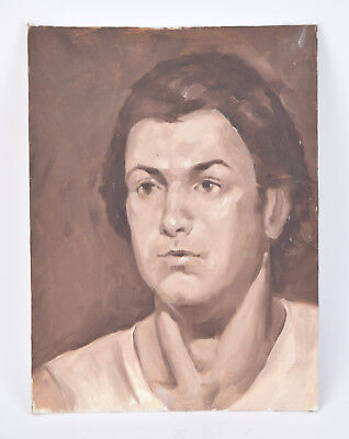 Vintage Oil Painting Portrait Of Young Man In White T-Shirt Sepia Tone • 94.08£