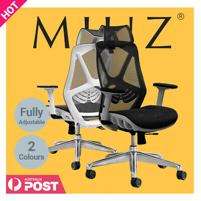 AU239 • Buy MIUZ Ergonomic Mesh Office Chair Gaming Executive Fabric Seat Headrest White Bla