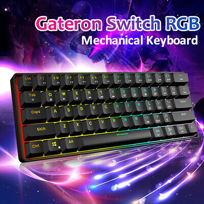 AU68.99 • Buy GK 61 Keys Gaming Mechanical Keyboard Backlit LED RGB Gateron Switch Waterproof