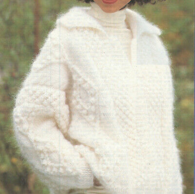 Ladies Mohair + Aran Cosy Fluffy Jacket Cardigan Chunky Weight Knitting Pattern • 2.50£