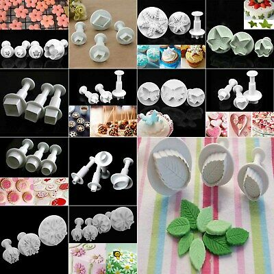 3/4pcs Cake Decorating Sugarcraft Fondant Icing Plunger Cutter DIY Mold Mould NM • 4.47£