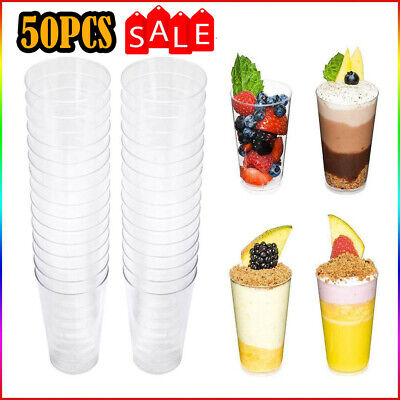50X 2/3oz Square Dessert Cups Cube Plastic Clear Mousse Cup Birthday Party Decor • 7.99£