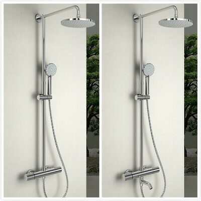 Thermostatic Exposed Shower Mixer Bathroom Twin Head Large Round Bar Set Chrome • 56.99£