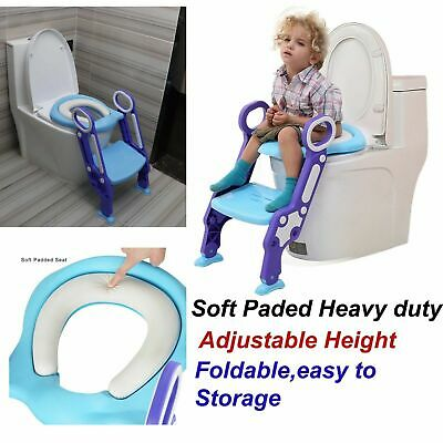 Childrens Toilet Seat Ladder Toddler Training Step Up Easy Fold For Kids Down UK • 13.99£
