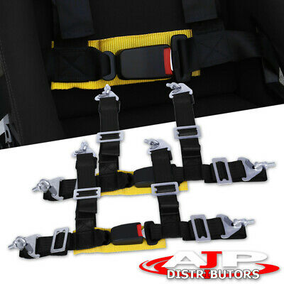 $ CDN58.79 • Buy 2X 4Pt Racing 2  Seat Belt Harness Strap Quick Snap Buckle Latch Gold Strap