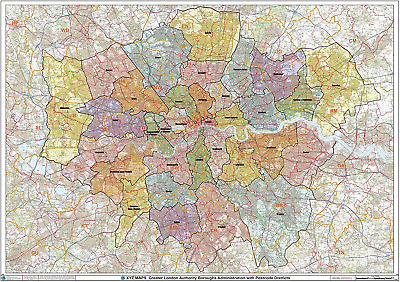£36.89 • Buy Greater London Authority Boroughs With Postcode Districts Wall Map - 47  X Paper