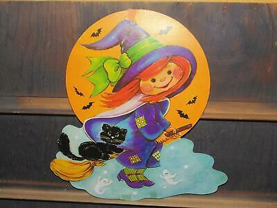 $ CDN16.52 • Buy Vintage Witch Cute Cat Broom  Halloween Die Cut Decoration