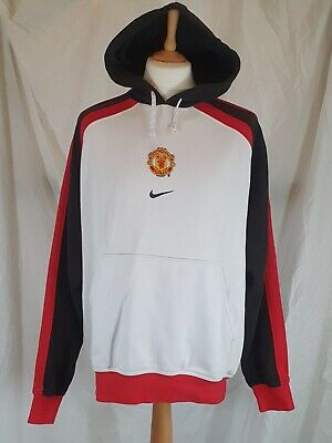 NIKE Manchester United Football Jumper Hoodie White Black Red Size Lge USED • 19.99£