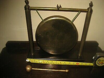 Vintage Brass Dinner Gong, Wooden Stand • 125£