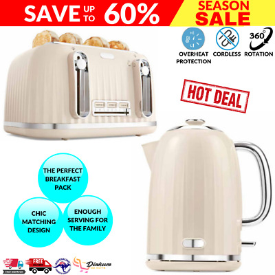 AU67.27 • Buy Euro Toaster 4 Slice Cordless 1.7L Kettle Stainless Steel Electric Kitchen Set