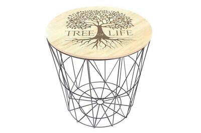 Tree Of Life Geometric Side Table 40x40cm.Mini Table Or Stool Wooden Top • 25£
