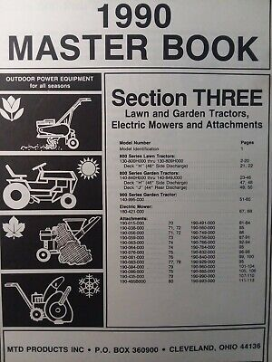 AU133.46 • Buy MTD 1990 Lawn Garden Tractor, Implements & Electric Mower Master Parts Manual