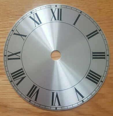 £10.95 • Buy NEW - 4 Inch Clock Dial Face - Silver Finish 104mm - Roman Numerals - DL11