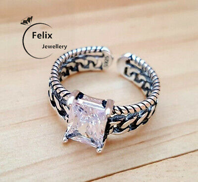 Square Crystal 925 Sterling Silver Adjustable Band Thumb Ring Women Jewellery UK • 2.79£