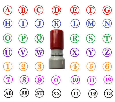 Custom 2 Letters Stamp Initial A-Z 0-9 Self Inking Round 13mm ABC QC • 1.99£