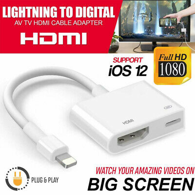 Lighting To HDMI Digital TV AV Adapter Cable For Apple IPhone 12 11 X 8 7 Plus • 8.99£