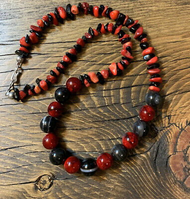 $39 • Buy #2000 Red And Black Agate And Quartzite 18 Inch Necklace Sterling Silver 925
