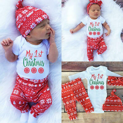 Baby Boy Girl Newborn First Christmas Clothe Romper Pant Hat Outfit 4Xpieces Set • 12.99£