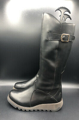 NEW Fly London MOL 2 Wedge Zip Up Black Leather Boots Size UK 6 39 RRP £155 • 94.99£