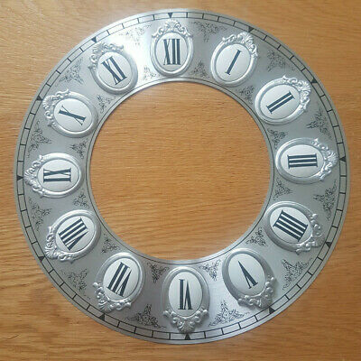 £10.95 • Buy NEW - 9.5 Inch Chapter Ring Clock Zone Dial Face - Silver Roman Num 246mm CR32