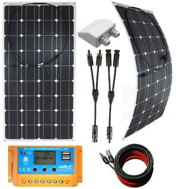£229.30 • Buy 200w 240w To 320w Flex Solar Panels +20A LCD Charger /w USB + Cables + Inlet Kit