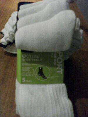 £9.50 • Buy Ex M & S COOL & FRESH COTTON 5 PAIRS WHITE RIBBED SPORT SOCKS CUSHIONED SOLE