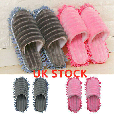 A Pair Mop Slippers Lazy Floor Foot Socks Shoes Quick Polishing Cleaning Dust C • 10.09£