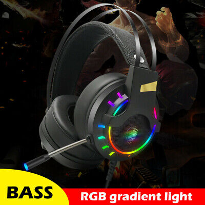 AU25.99 • Buy USB RGB Gaming Headset For PC, Xbox One, Stereo Gaming Headphones With Mic