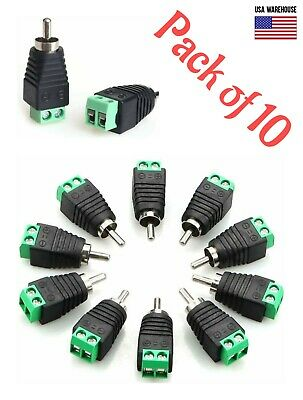 £4.35 • Buy 10pcs Of Speaker Wire Cable To Audio RCA Male Connector Adapter Jack Plug