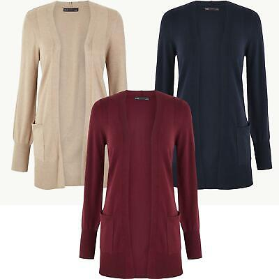 £13.95 • Buy Ex M&S Marks And Spencer Fine Knit Open Front Patch Pocket Cardigan