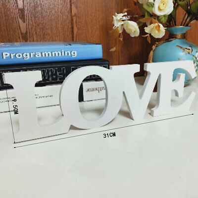 White Wooden Free Standing LOVE Letters Sign Wedding Home Decoration -UK • 7.14£
