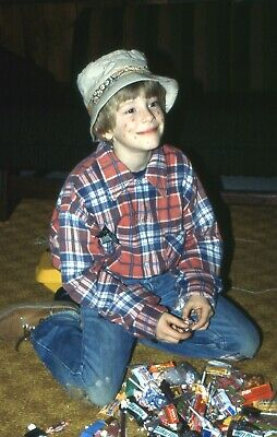 $9.99 • Buy H098_35mm Slides 1979 Halloween Costume Boy In Plaid Wearing Bucket Hat & Candy