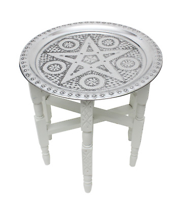 Moroccan Aluminium Tray Table Folding White Cedar Wood Legs Small 40cm (ATT3) • 78.50£