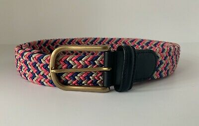 Anderson's Leather -Trimmed Woven Textile Belt - Multicoloured - Made In Italy • 30£