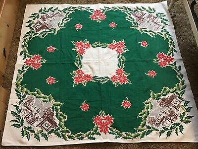 $ CDN58.80 • Buy WOW Vintage 1950s Christmas Tablecloth Poinsettias Carolers RED GREEN Holly LQQK
