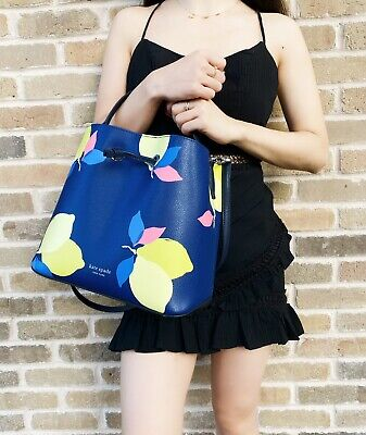 $ CDN162.64 • Buy Kate Spade Eva Lemon Zest Large Bucket Bag Blue Yellow Drawstring Crossbody Bag