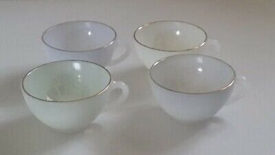 4 Vintage French Coffee Tea ARCOPAL CUPS Multi Colour Pearl Pastel Opaline Glass • 14.50£