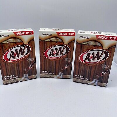 A&W Root Beer On The Go Drink Mix Singles 3 Boxes 18 Packets Sugar Free • 7.79£