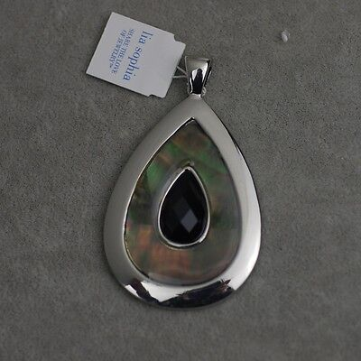 $ CDN7.84 • Buy Lia Sophia Signed Jewelry Silver Plated Black Acrylic Shell Necklace Pendant