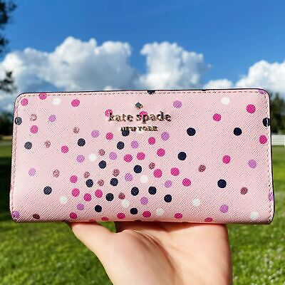 $ CDN100.85 • Buy Kate Spade Staci Festive Confetti Glitter Large Slim Bifold Wallet Pink Dot