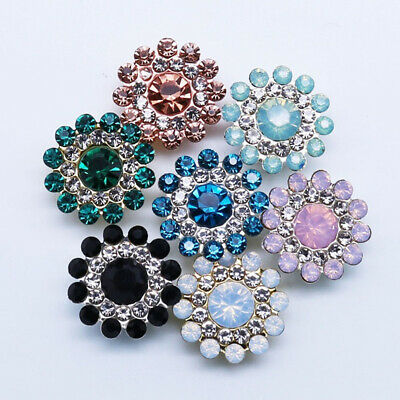 10x 14mm Flower-shaped Rhinestone Buttons Sparkling Crystal Glass Stone Buttons • 2.99£