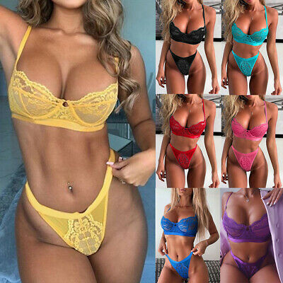Women Sexy Lace Push Up Bra Set Bralette Top Thong Knicker Underwear Lingerie • 6.48£