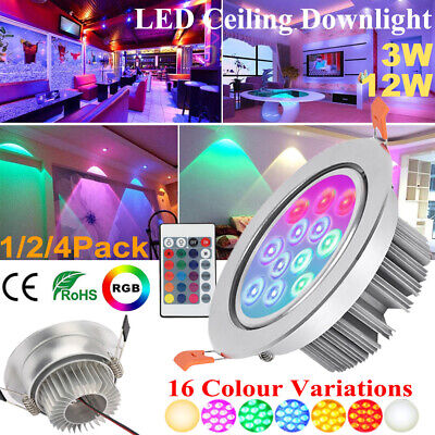 £28.39 • Buy RGB LED Ceiling Downlight 16 Color Changing Recessed Round Panel Spotlight Lamp