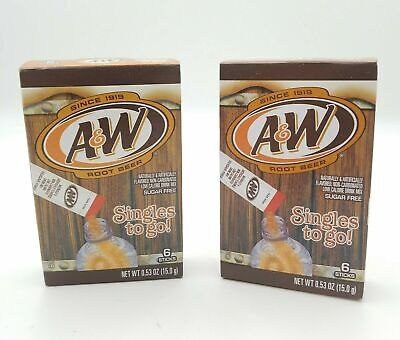 2 A&W Singles To Go Powder Packets Sugar Free Non-Carbonated Root Beer Water  • 11.08£