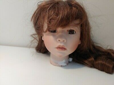 $ CDN10.47 • Buy Porcelain Painted Doll Head With Brown Glass Eyes And Brown Wig